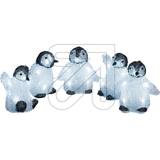 LED-Acryl-Set mit 5 Pinguinen 40 LEDs weiß 12x12,5cm