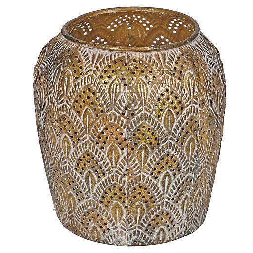 Metall-Ornamentwindlicht Vase  Ø12x13,5cm 11914