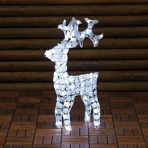 LED-Acryl-Rentier 100 LEDs weiß 38x70cm 36383