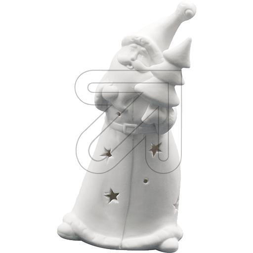 Tannenbaum Weiss Led.Led Porzellan Weihnachtsmann Mit Tannenbaum Weiß H15cm