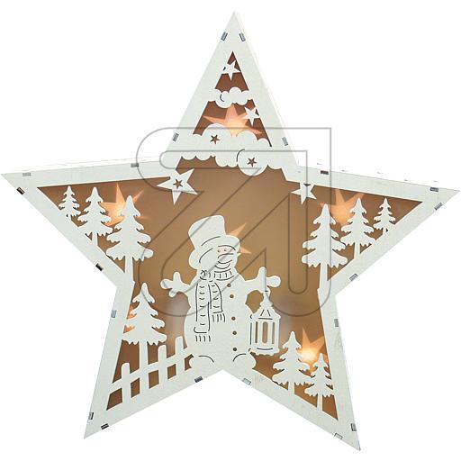 LED-Holzleuchter Stern H30cm weiß